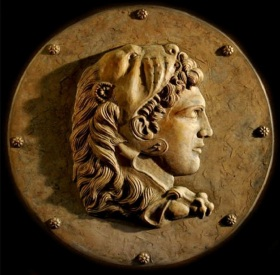 Alexander. round plaque, cast stone, 1st-4th century CE