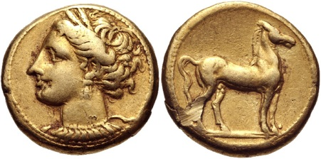 Carthage. Circa 310-290 BC. Stater, Wreathed Tanit-Horse