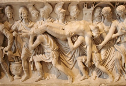 Hector's corpse brought back to Troy (detail). Roman artwork (ca. 180–200 CE), relief from a sarcophagus, marble.