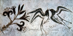 !Landscape with lilies and swallows, fresco, Greece, ca. 1650 BC
