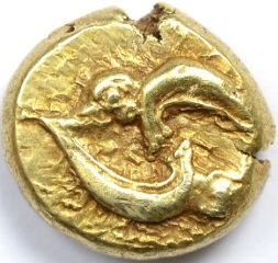 PHOCAEA ELECTRUM COIN WITH PLAYING SEALS