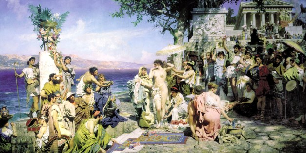 Phryne on the Poseidon's celebration in Eleusis, Henryk Siemiradzki, 1889