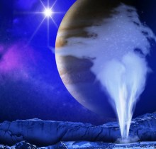 plume of water vapor thought to be ejected off the frigid, icy surface of the Jovian moon Europa, located about 800 million kilometers from the sun