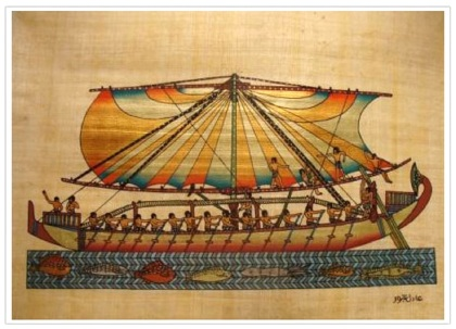 Ancient ship, Egyptian papyrus painting