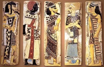 Faience tiles from the royal palace of Rameses III, depicting foreign prisoners - Libyan, Nubian, Syrian, Shasu Bedouin, & Hittite