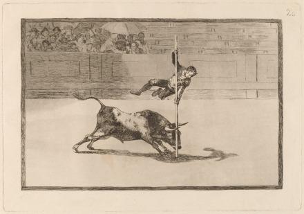 Ταχύτητα και γενναιότητα του Juanito Apinani στην αρένα της Μαδρίτης, η πλάκα Νο.20 από τη σειρά χαρακτικών Ταυρομαχία του Φρανσίσκο Γκόγια, 1815-16