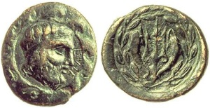 bronzehelike-Poseidon & inscription ELIK, reverse trident flanked by dolphins