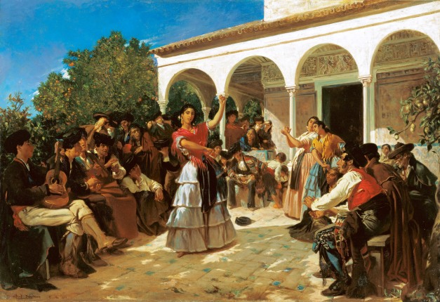 Alfred_Dehodencq_A Gypsy Dance in the Gardens of the Alcázar, in front of Charles V Pavilion, 1851