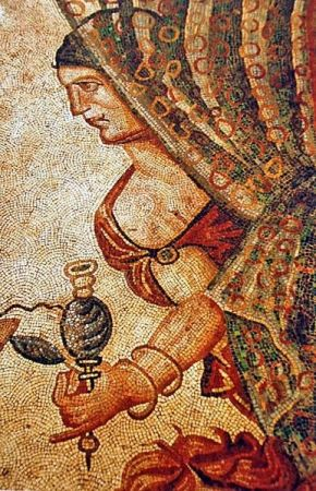 Ancient roman mosaic of the roman vila of La Olmeda in Pedrosa de la Vega (Palencia, Castile and León). Only known evidence of transparency using tesserae (on woman's veil).