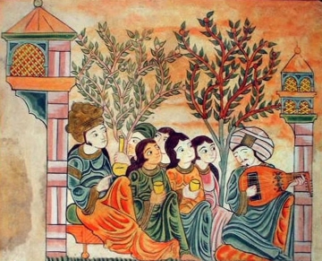 Bayad plays the oud to The Lady. from the Riyad & Bayad, Arabic tale
