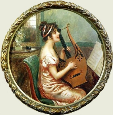 Cesare Saccaggi_Woman playing a lyre