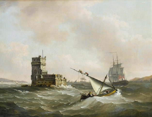 'An English frigate in choppy waters in the Tagus passing the Belém Tower' by John Thomas Serres (1823)