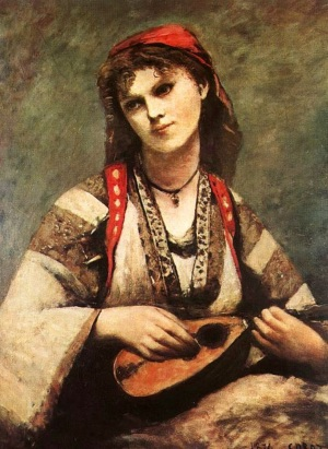 Gypsy-Girl-with-a-mandolin-by-Jean-Baptiste-Camille Corot