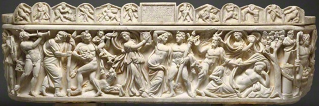 Sarcophagus with various ancient instruments-tympanum, flute, & kymbala. Scenes of Bacchus, Roman, A.D. 210–220