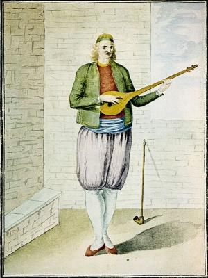 Νησιώτης παίζοντας ταμπουρά. 18ος αιώνας