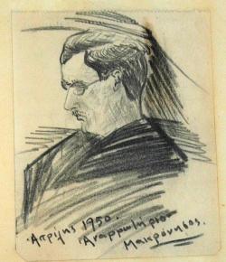 Σκίτσο που έφτιαξε ο Κατράκης με το πρόσωπο του Φ. Ανωγειανάκη