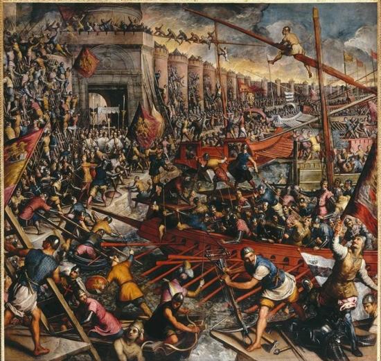 Domenico Robusti called Tintoretto (1560-1635)-'the crusaders' conquest Constantinople in 1204'--Domenico Tintoretto, The Second Conquest ,The Capture of Constantinople in 1204