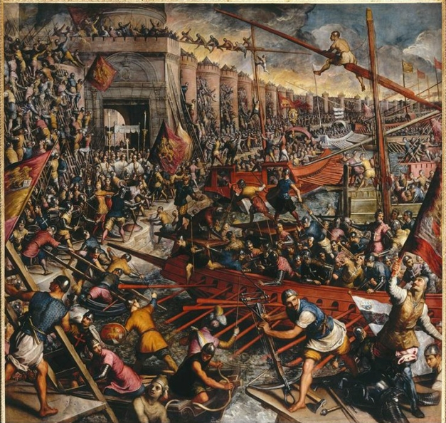 Domenico Robusti called Tintoretto (1560-1635)-'the crusaders' conquest Constantinople in 1204'--Domenico Tintoretto, The Second Conquest ,The Capture of Constantinople in 1204