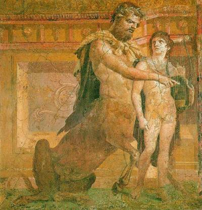 Chiron_instructs_young_Achilles_-_Ancient_Roman_fresco-