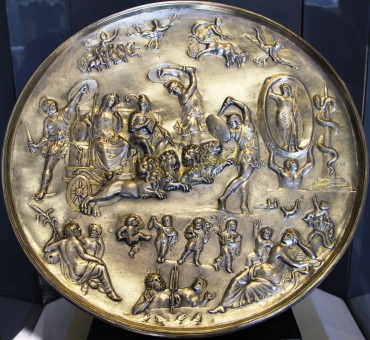 Cybele and Attis with 3 Corybantes, Parabiago plate