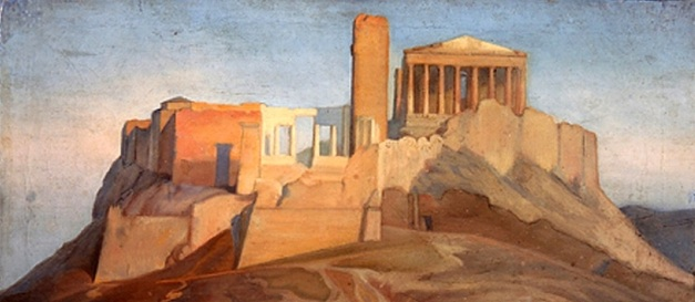 view of the acropolis of athens-Jean Auguste Dominique Ingres (1841-1849)